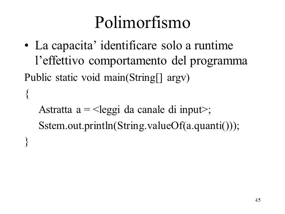 Polimorfismo La capacita' identificare solo a runtime l'effettivo comportamento del programma. Public static void main(String[] argv)